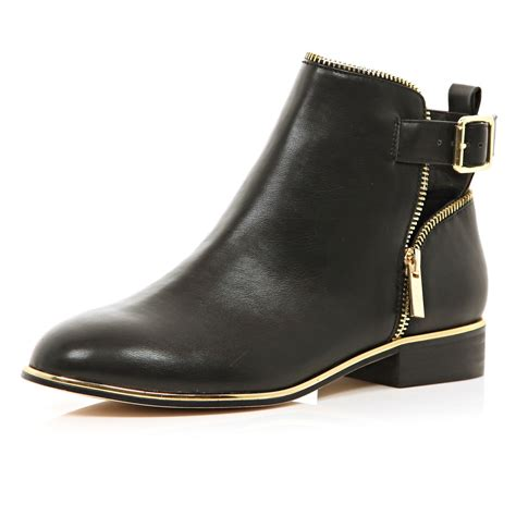 river island boots for river island black zip trim ankle boots in black lyst