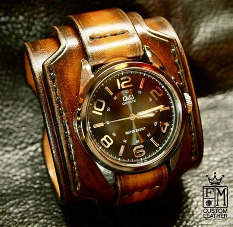 leather cuff brown tobacco sunburst wide layered