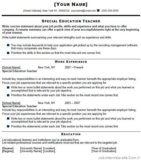 Special Education Resume by Free 40 Top Professional Resume Templates