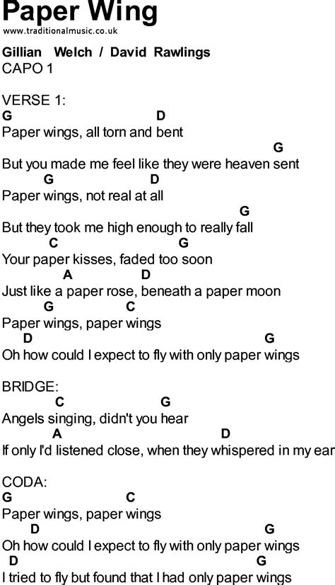 Paper Lyrics - bluegrass songs with chords paper wing
