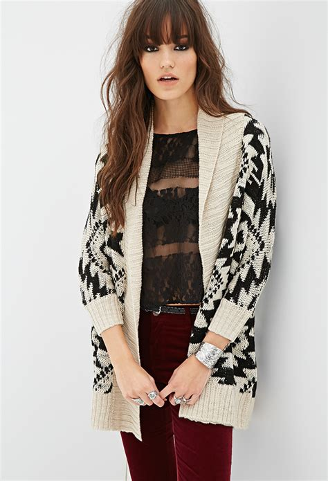 tribal pattern cardigan forever 21 forever 21 pattern longline cardigan you ve been added to