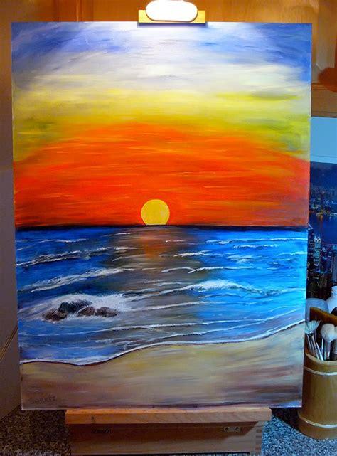 painting acrylic landscapes easy way acrylic paintings sunset acrylic painting by dx