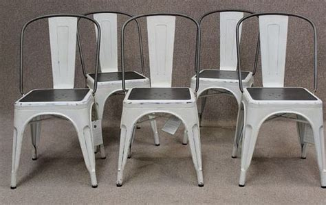 white tolix style chair industrial vintage styling   home