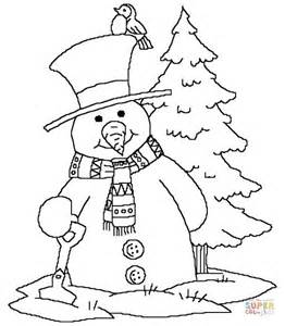 Snowman Near Christmas Tree Coloring Page Free Printable Merry Coloring Pages Snowman