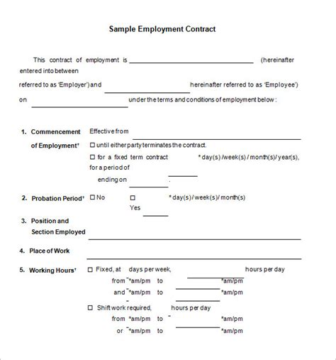 working agreement template free employment agreement template 11 contract