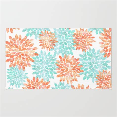 coral and turquoise rug aqua and coral flowers rug by sylvia cook from society6 college