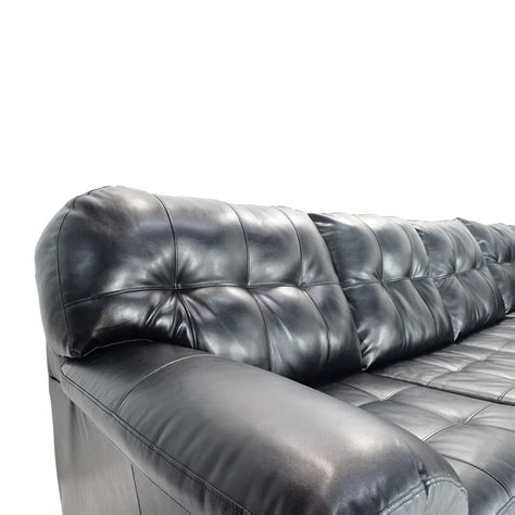 black faux leather sectional 51 off bobs furniture black faux leather sectional sofas