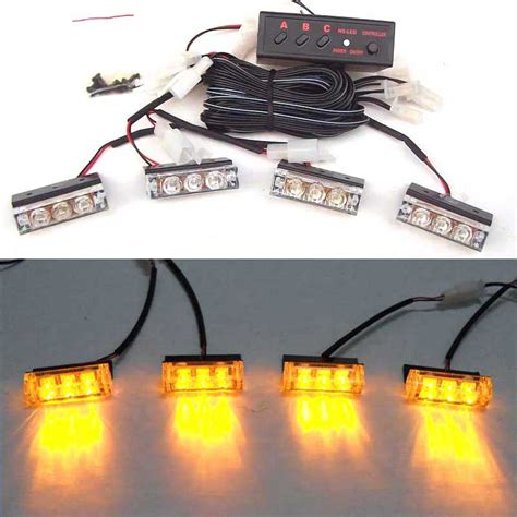 green and amber strobe lights car red blue white green amber yellow 4x3 led strobe flash