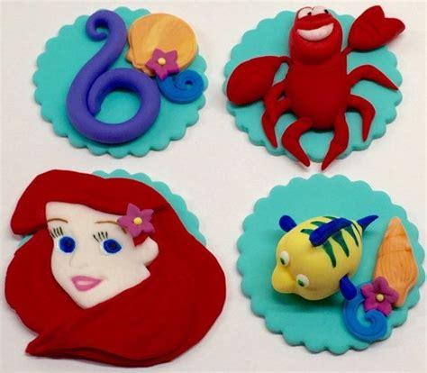 edible fondant disney 3d mermaid inspired princess ariel flounder and sebastian cupcake