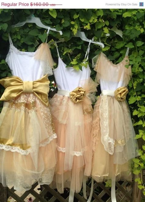 junior bridesmaid peach and gold shabby chic gown for teen girls boho gown boho dress dress