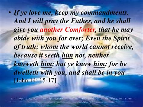 i will send you another comforter the holy spirit and the beliver