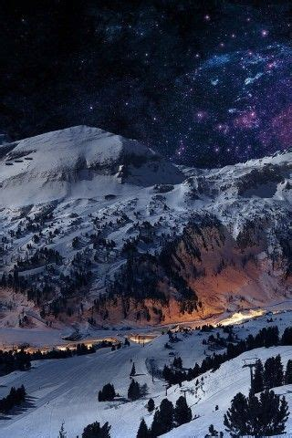 snowy mountain night wallpaper backgrounds  wallpapers