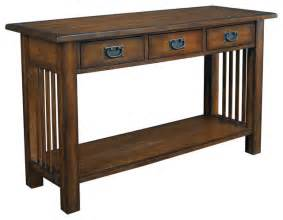 hammary sofa table in mission oak craftsman