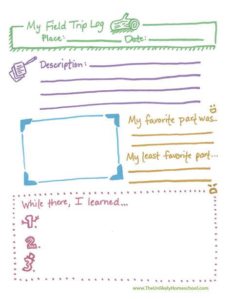 field trip template the unlikely homeschool field trip log printable