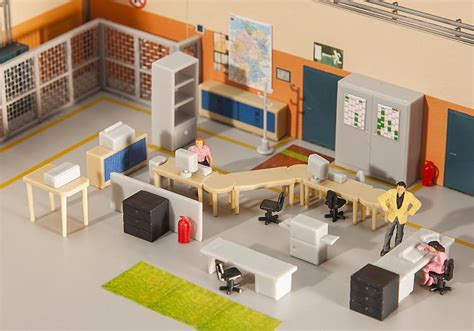 Home Design Brand Furniture by Faller 180454 Office Furniture Accessory Kit Oo Ho
