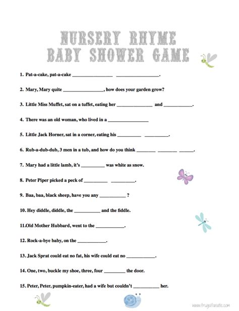 printable free nursery rhymes baby shower games nursery rhyme baby shower games