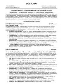 Ecommerce Retail Sle Resume by David Altman Consumer Goods Retail Omni Channel E