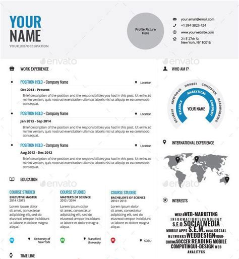 professionally designed infographic resume template indd