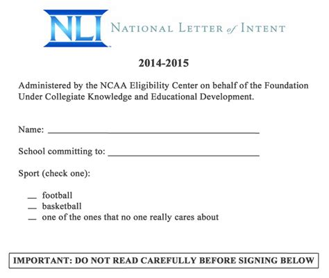 National Letter Of Intent No Scholarship Leaked College Football S National Letter Of Intent