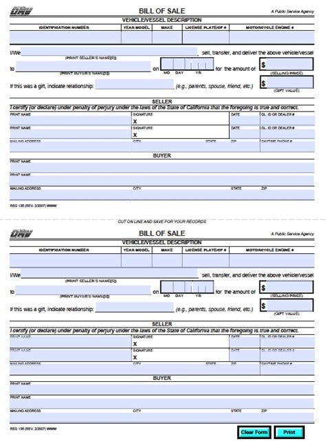 bill of sale california template free california dmv bill of sale reg 135 vehicle