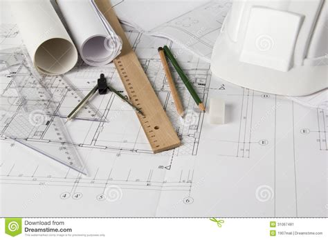 interior design drawing tools architectural blueprints and drawing tools stock image