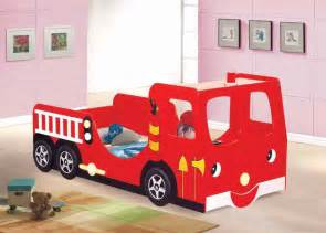 Kids bedroom funny red car shaped kids bed with lovely white study