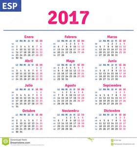 spanish calendar 2017 stock vector image of 2017 layout