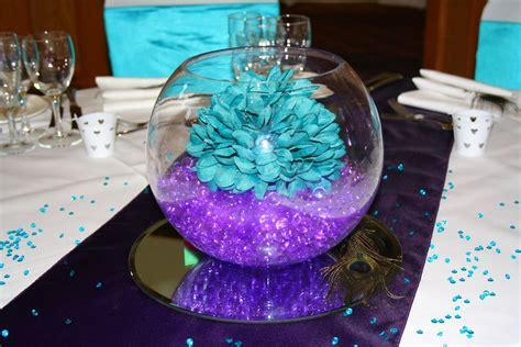 Purple and Teal wedding centerpiece   All things Party