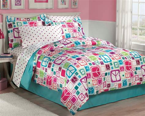 teal comforter sets full new teen girls peace signs teal twin or full bedding