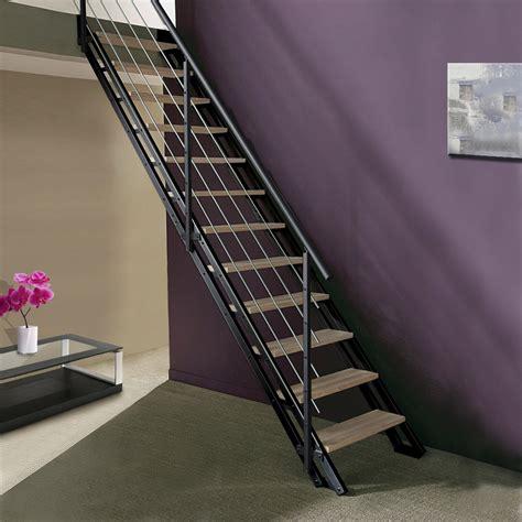 escalier modulaire escavario structure m 233 tal marche bois leroy merlin