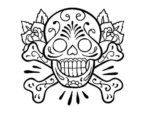 sugar skull coloring page tattoo