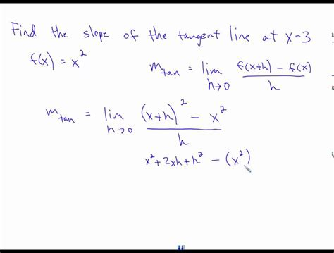 How To Find On Line Finding Slope Of Tangent Line With Difference Quotient And