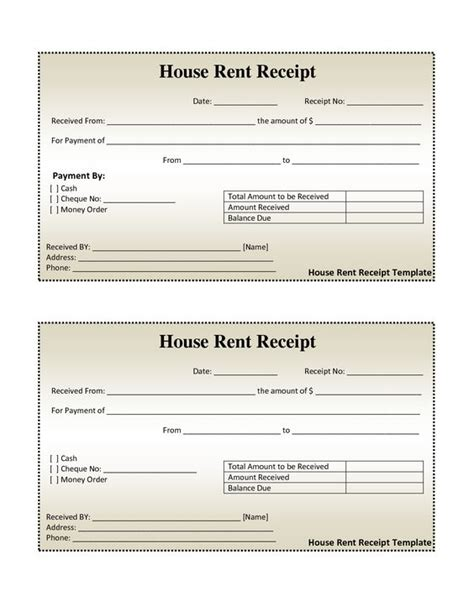 rent receipt template doc free house rental invoice house rent receipt template