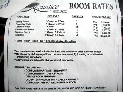 Resort Room Rates by Acuatico Resort Laiya Travel Speed