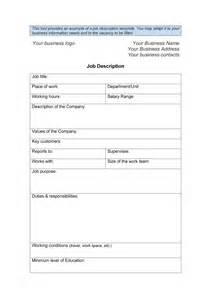 position description template 47 description templates exles template lab
