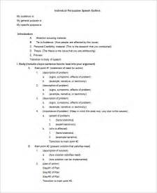 Informative Speech Outline Template by Persuasive Speech Outline Template 9 Free Sle