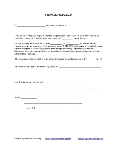 Back Rent Letter Sle 30 Day Eviction Letter Template