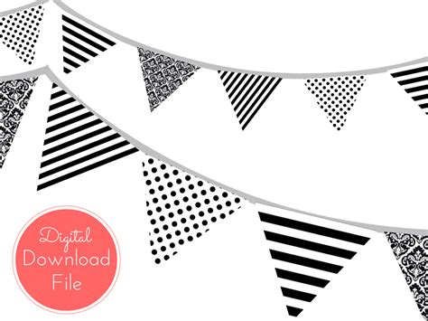 printable birthday banner black and white modern chanel inspired black and white banner magical