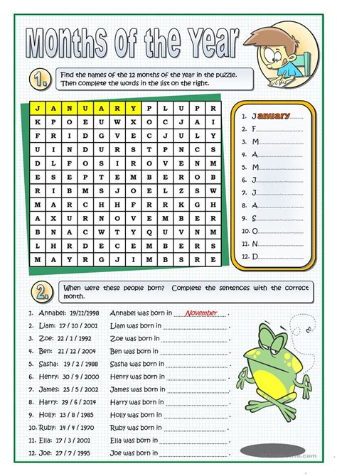 esl printable worksheets months of the year the months of the year worksheet free esl printable