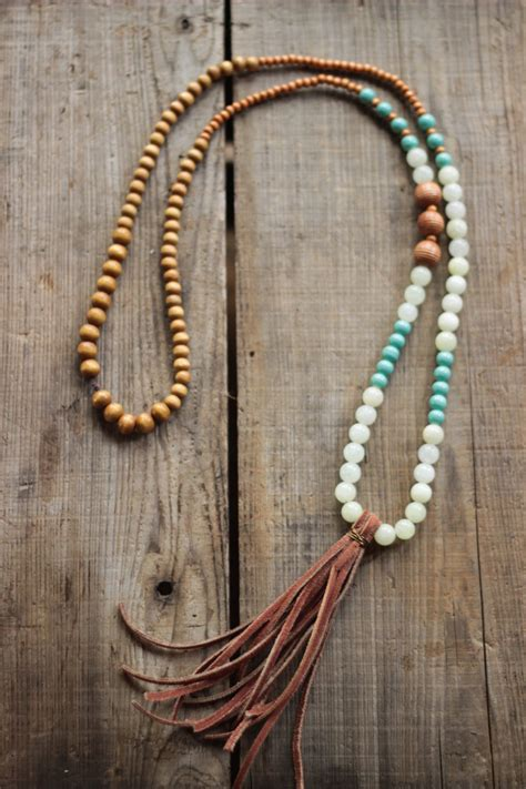 beaded tassel necklace boho suede tassel beaded necklace