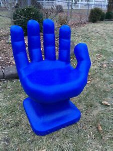 giant cobalt blue hand shaped chair  tall adult size