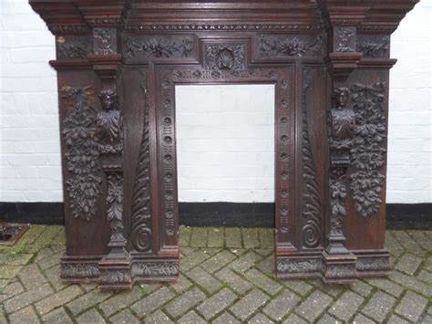 Carved Fireplace by 19th Century Carved Oak Caryatid Fireplace 271855