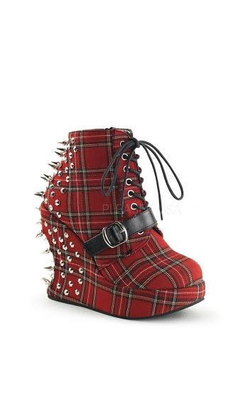 spiked 5 inch wedge platform lace up ankle boot spiked