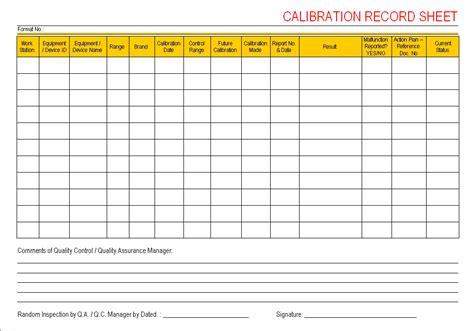 Calibration Record Sheet Calibration Template Excel