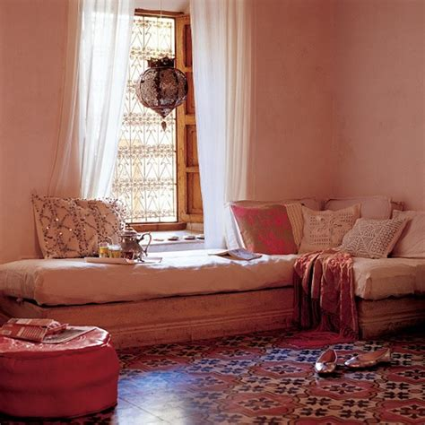 moroccan inspired room with patterned accessories