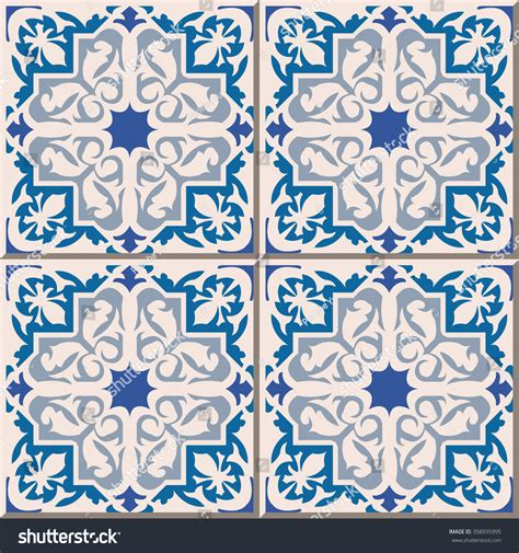 retro pattern wall tiles vintage seamless wall tiles blue star stock vector