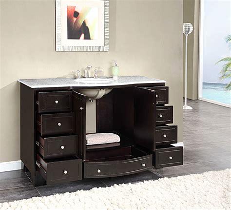 silkroad 55 inch single sink bathroom vanity carrara white