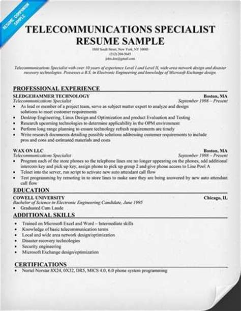 Resume Of Project Manager In Telecom Telecommunication Manager Resume Objective