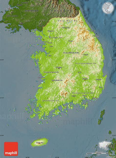 physical map of south korea physical map of south korea darken