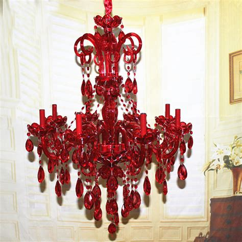 red chandeliers with varied lighting new stylish art decoration 8 lights ruby red crystal